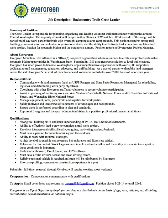 Backcountry Trails Crew Leader Position Open!